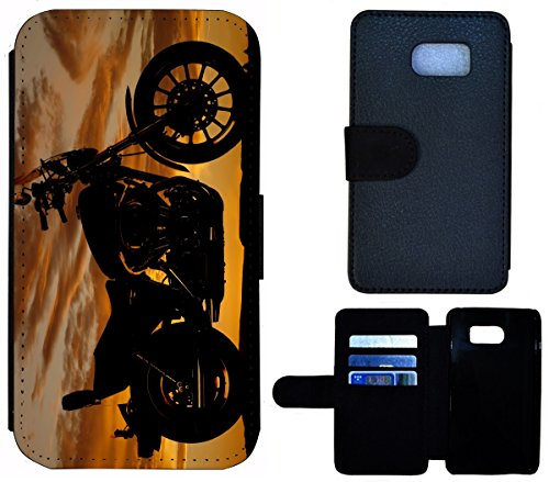 Flip Cover Schutz Hülle Handy Tasche Etui Case für (Apple iPhone 6 / 6s, 1605 Französische Bulldogge Welpe hund) 1599 Motorrad Chopper Bei Nacht