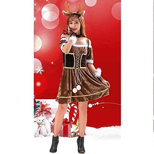 KAIDILA Weihnachtskostüm Weihnachten Geschenk Cosplay Sexy Bühne Kostüm Erwachsene weibliche Tier Brown Sika Hirsche Rentier verkleiden Kostüm - Weibliches Tier Kostüm