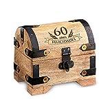 Cofre de madera clara – Para el 60 cumpleaños – Estándar – Caja de madera clara para regalar dinero – Regalo original y divertido – 10 cm x 7 cm x 8,5 cm – Caja de almacenaje, hucha o alhajera – Regalos bonitos