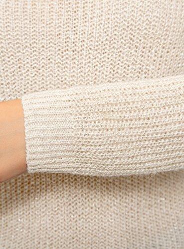 oodji Ultra Damen Pullover mit Bindebändern am Rücken Elfenbein (3000X)