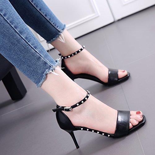 Il rivetto è bene con sandali femminili Scarpe Nero Tutto-Fiammifero inarcamento di parola Black
