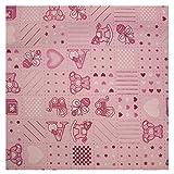 Baby Pink Polycotton Stoff mit Patchwork Kinderzimmer ABC