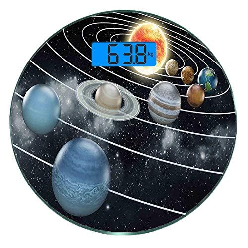 Digitale Präzisionswaage für das Körpergewicht Runde Galaxy Solar System Alle acht Planeten und die Sonne Pluto Jupiter Mars Venus Science-Fiction-Kunst Ultra dünne ausgeglichenes Glas-Badezimmerwaage
