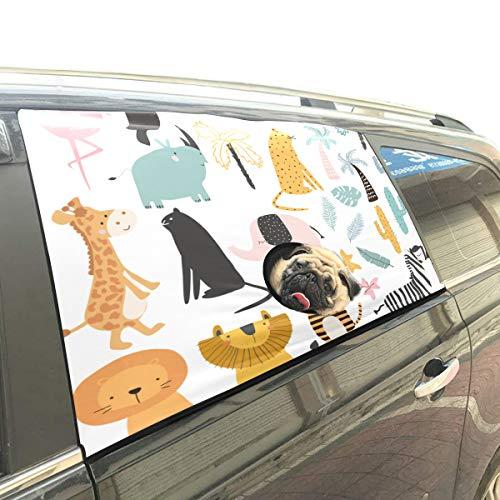 Reopx Zoo Tiere Sammlung Cartoon Faltbare Hund Sicherheit Auto Gedruckt Fenster Zaun Vorhang Barrieren Protector Für Baby Kind Einstellbar Flexible Sonnenschutzabdeckung Universal Fit Für SUV -