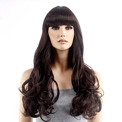 stfantasy Perücken für Frauen Lang Gewellt hitzbeständige Kunsthaar 63,5cm 243G flauschig Wig peluca frei Hair Net + Clips, (Chicken Mask Head)