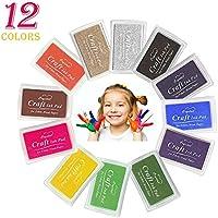 Almohadilla de tinta, infreecs Colorful tinta Craft Sellos de goma para niños tinta no tóxico seguro para el bebé de huellas dactilares diy arte 12 Color/Set