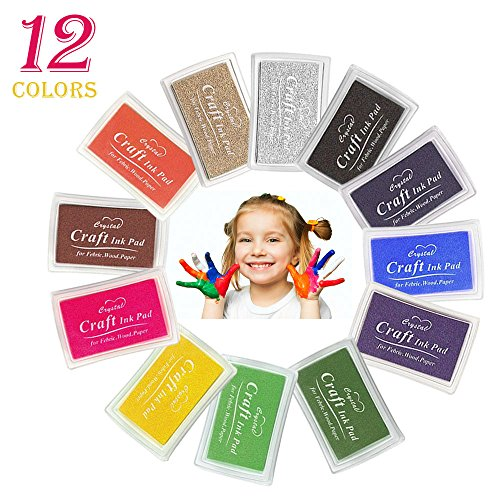 Infreecs Stempelkissen Set 12 Farben, Tinte Pads Stempel, Finger Stempelkissen Bunt Stamp Pad für Papier Handwerk Stoff, Fingerabdruck, Scrapbook, perfekt für Malen mit Kindern, DIY -
