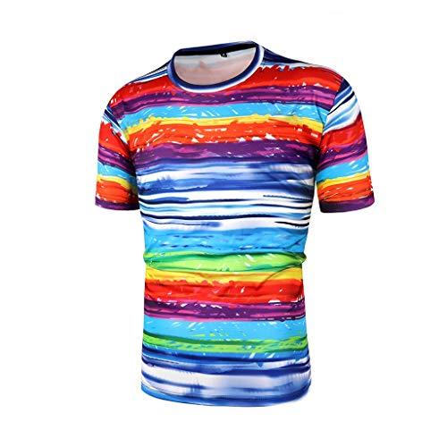 T-Shirt Tops Herren Rundhals Schlank Lässig 3D Print Bunte Sport Kurze Hemden Bluse Tops (Herren Punkt-kragen-shirt)