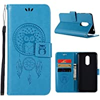 LUSHENG Funda para Xiaomi Redmi 5 Plus,Ultra Hybrid Cuero Estuche Premium Libro Suave PU Leather Flip Carcasa Protección Función de Soporte Antigolpes con Correa Muñeca - Azul