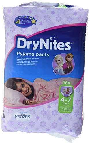 drynites maedchen Huggies DryNites hochabsorbierende Pyjama-/ Unterhosen, Bettnässen Mädchen Jumbo Monatspackung 4-7 Jahre, 64 Stück