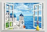 Autocollant mural 3D amovible en vinyle d'une fausse fenêtre avec une vue sur la mer