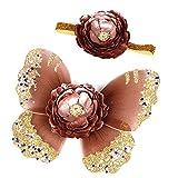 Tocado del ala de la mariposa del bebé Objetos fotográficos de la decoración hermosa , coffee , headgear + wing 0-6 months