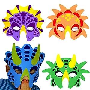 German Trendseller® - 8 x Dino Masken aus Schaumstoff