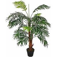 Homescapes Mini-palmier artificiel vert feuillage dense en pot 120 cm