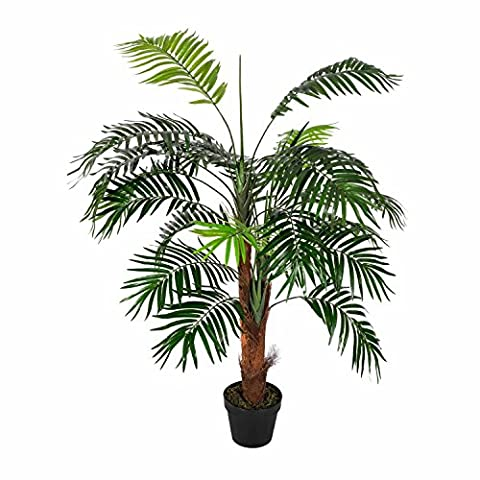 Homescapes Green 4 ft Mini Palm Tree Artificial Plant with Black Pot, 120 cm