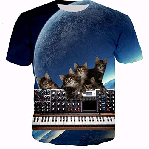 3D Print Casual T-Shirt Katze spielt Klavier Männer/Frauen Sommer Tees Quick Dry 3D Print T-Shirts Tops Fashion Tops -XL