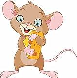 Etaia 10x10cm Lustiger Auto Aufkleber Maus mit Käse mice Mäuschen Sticker Motorrad Kinder Baby Handy Laptop