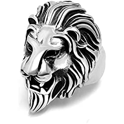 Sorella'z Mens Alloy Metal Silver Tone Lion Head Ring