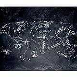decomonkey Fototapete Weltkarte Landkarte Kontinent 50x35 cm Design Tapete Fototapeten Vlies Tapeten Vliestapete Wandtapete moderne Wand Schlafzimmer Wohnzimmer Tafel Kreide Schwarz Weiß