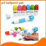 Jiayuane 50 Stücke Lächelndes Gesicht Mini Versenkbare Pille Kugelschreiber Neuheit Kapsel Kugelschreiber Favor Geschenk für Studenten