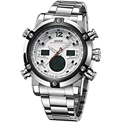 Alienwork DualTime Analogue-Digital Watch Chronograph LCD Wristwatch Multi-function Metal white silver OS.WH-5205G-02