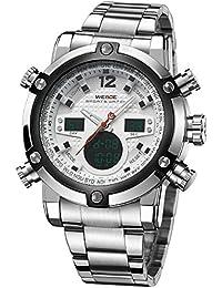 Alienwork DualTime Reloj Digital- Analógico Cronógrafo LCD Multi-función Metal blanco plata OS.WH-5205G-02
