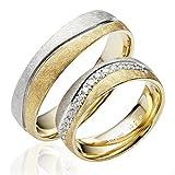 2 x 585 Gold Eheringe Partnerringe Trauringe Verlobungsringe in Gelbgold und Weißgold *mit Gravur und Steinen* J139S