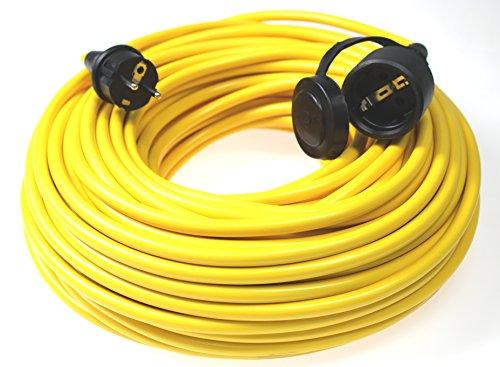 as - Schwabe 60356 Verlängerungskabel 50m, K35 gelb, IP44 für Aussenbereich, 230 Volt