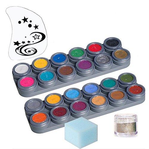 GRIMAS Water Make up Kinderschminke Theaterschminke Palette 24 Farben Schwamm Glitzer Set (Halloween-make-up Weiße Professionelle)