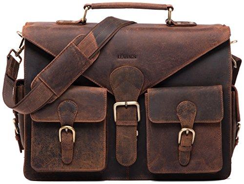 LEABAGS Dayton Aktentasche aus echtem Büffel-Leder im Vintage Look - Rouge