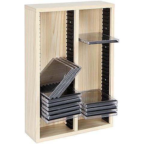 Jago Porta CD scaffale mobile porta CD muro parete fino 60 CD colore faggio