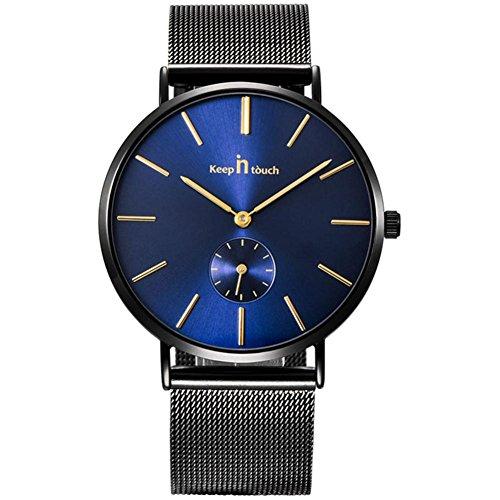 Dilwe Männer Ultradünne Uhr mit Legierungs Edelstahl-Bügel 30M imprägniern Quarz Herren Uhr(Blau)