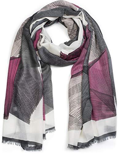 styleBREAKER Sciarpa da donna con motivo linee grafiche e frange stola foulard 01017095 coloreGrigio rosa bianco