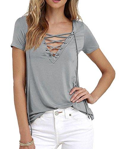 Damen Bandage Spitze Blusen Sommer-Kurzarmshirts T-Shirt V-Ausschnitt Beiläufige Brief drucken Frauen Tops Hemden Blusenshirt Grau