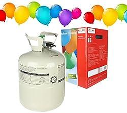 Helium Ballongas Einweg Heliumflasche XL 250 Liter Heliumbehälter inclusive 30 Luftballons und 30 Ballonband
