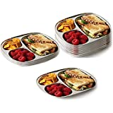 King International Stainless Steel Pav Bhaji Plate | 3 In 1 Three Compartment Dinner Plate| Set Of 12 Pieces |