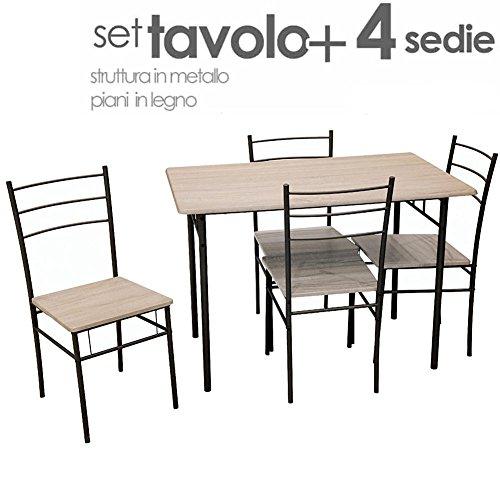 Bakaji Table de Salle à Manger avec 4 chaises avec Structure en métal et Plans en Bois MDF Moderne pour ameublement extérieur Jardin terrasse terrazzino Arredo CASA mesures 110 x 70 x 77 cm