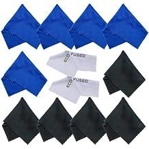 ECO-FUSED - Paños de microfibra ideales para limpieza de los lentes, gafas, lentes de cámara, iPad, tablets, iPhones, teléfonos Android, pantallas LCD y demás superficies delicadas, incluye 10 paños coloridos azul y negro y 2 blancos