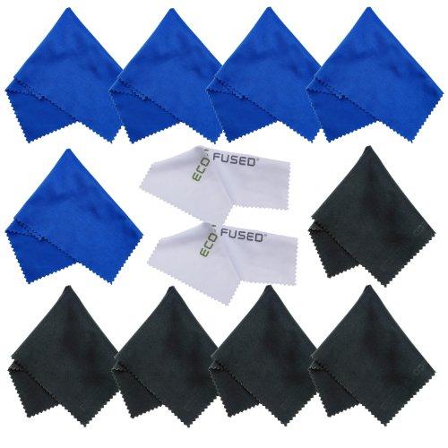 Eco-Fused Mikrofasertücher - 12er Pack - Ideal zum Reinigen von Brillen, Brillen, Kameraobjektiven, Tablets, Handys, Telefonen, Laptops, LCD-Bildschirmen und Anderen