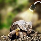 Mallalah Lampe Tortue Terrestre Chauffante Reptiles et Amphibiens pour Aquarium Éclairages 25W UVA UVB avec Base Longue 360° Rotation (avec Ampoule)