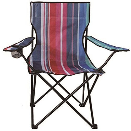 Eurotrade W 2001652 Stripe Folding Camping Deck Chair Outdoor Fishing Picnic Beach Garden Patio Furniture Seat, Multi-Colour, 50 x 50 x 80 cm