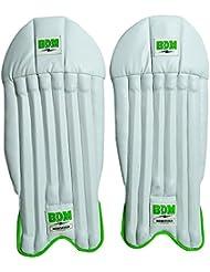 BDM Mansfield Cricket Garder blanc Pads Leg Guard cuir PU