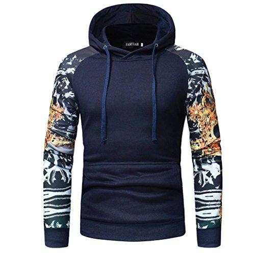 Camouflage Hooded Sweatshirt Herren,DoraMe Männer Lange ärmel Kapuzenpulli Jacke Mode Sport Kapuzen Pullover Mantel Outwear (Marine, L)