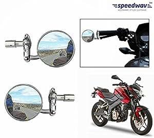 Speedwav Bike Handle Grip Rear View Mirror CHROME Set Of 2-Bajaj Pulsar 200NS