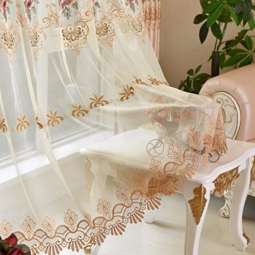 Xpy-curtain tende a drappeggio soggiorno intessuto color caffè di fascia alta di lusso in peonia ricamata in cotone e linofinito da pavimento a soffitto finestra, 150, b