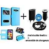 Coque Samsung galaxy S7 EDGE Bleu ciel housse étui flip cover double fenetre, ultra fine + chargeur samsung galaxy S7 EDGE (chargeur murale + chargeur voiture + cable USB data)