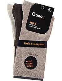 Qano Relax ohne enges Gummi klassische Herren Business und Freizeit Socken Braun Beige im 3er Pack
