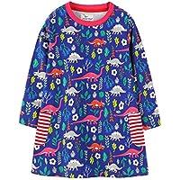 ASHOP Vestidos de Princesa 2019 Tutú Faldes de Fiesta Flor de Dinosaurio Vestido T-Shirt Manga Larga Algodón Casual Niñas 1-6 Años