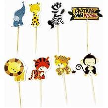 Palillos con animales salvajes para fiestas de cumpleaños y decoración de pasteles, ...