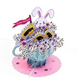 3D Geburtstagskarte - Happy Birthday Hase mit Blumenstrauß & Sonnenblume - Handgefertigte Klappkarte mit Umschlag, kreativ Pop-Up 3D-Karte zum Geburtstag